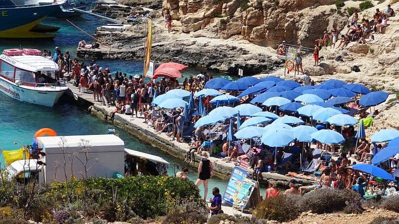 Besucherandrang auf Comino, Malta