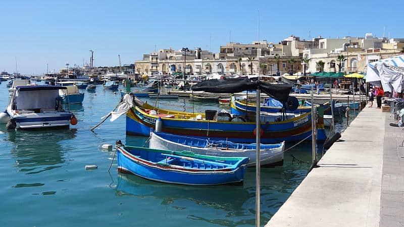 Luzzus in Marsaxlokk, Malta