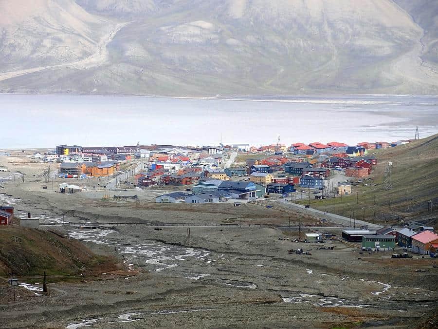 Spitzbergen - Longyeargletscher, Blick auf Longyearbyen