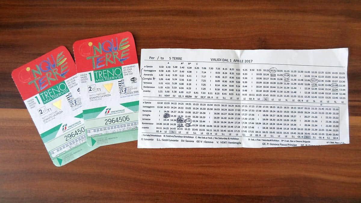 Tickets und Fahrplan - Cinque Terre an einem Tag