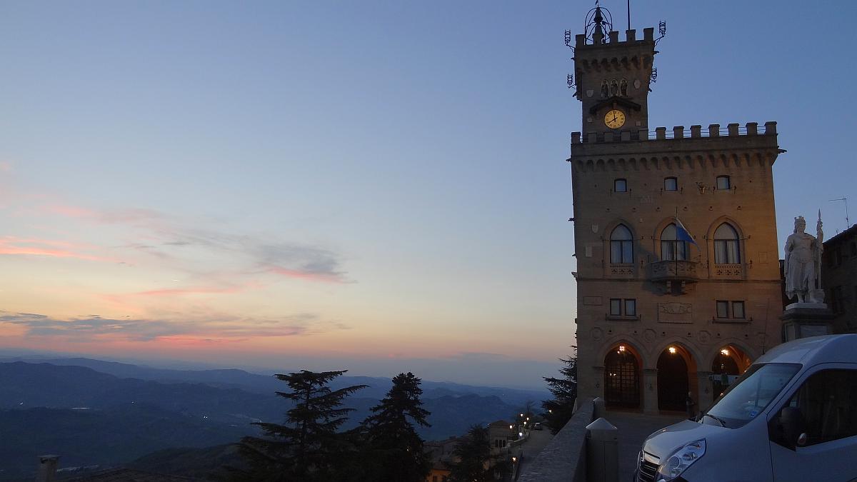 Palazzo Publico Sonnenuntergang, San Marino