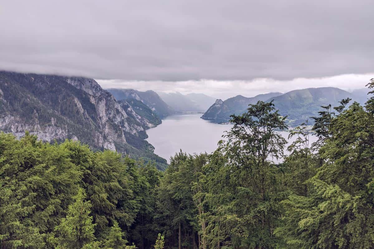 Aussicht über den Traunsee vom Baumwipfelpfad auf dem Grünberg