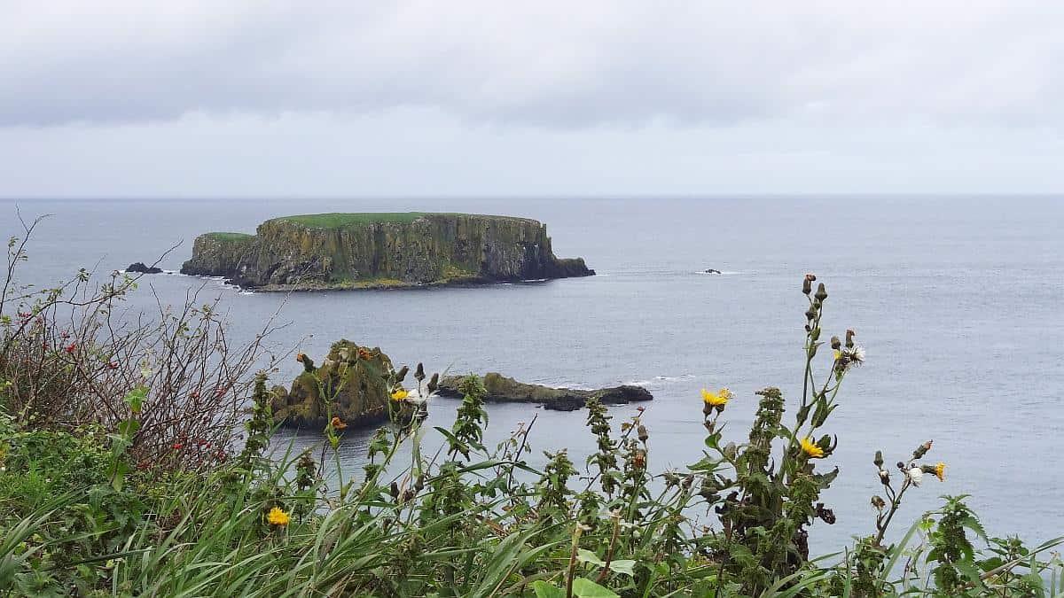 Aussicht vom Carrick-a-rede-Parkplatz, Nordirland