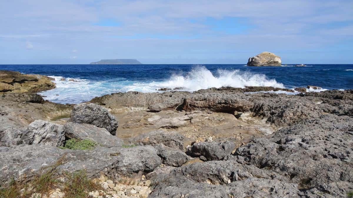 Felsen an der Pointe des Châteaux, Grande-Terre, Guadeloupe