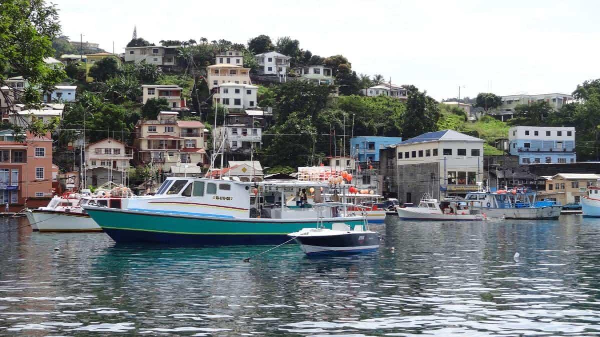 Ausblick, Carenage, Hafenbucht, St. George's, Grenada