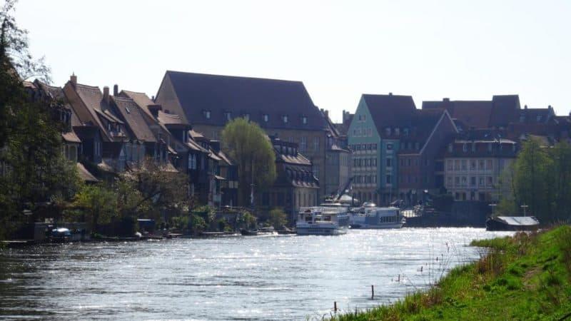 Blick von Klein Venedig auf die Altstadt von Bamberg
