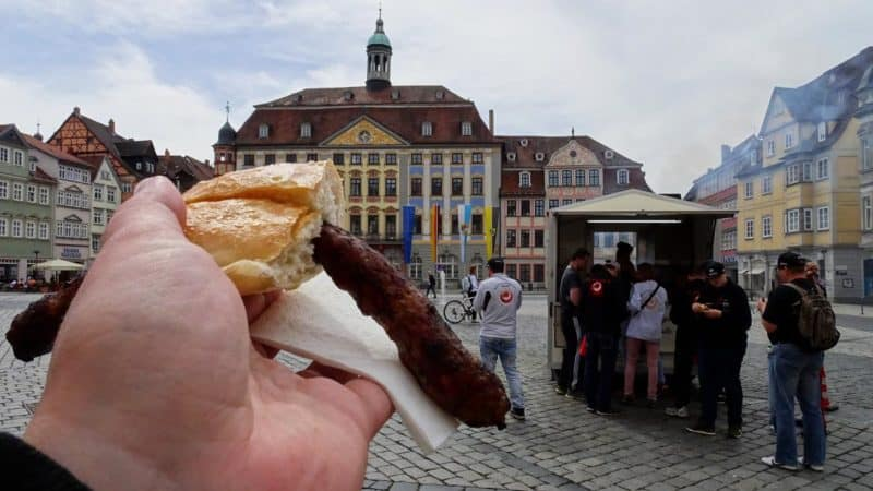 Coburger Bratwurst auf dem Rathausplatz