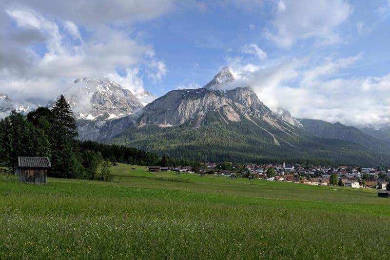 Bergpanorama mit Blumenwiese in Ehrwald