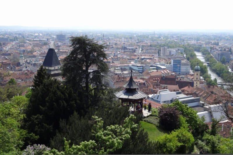 Aussicht über Graz vom Schlossberg