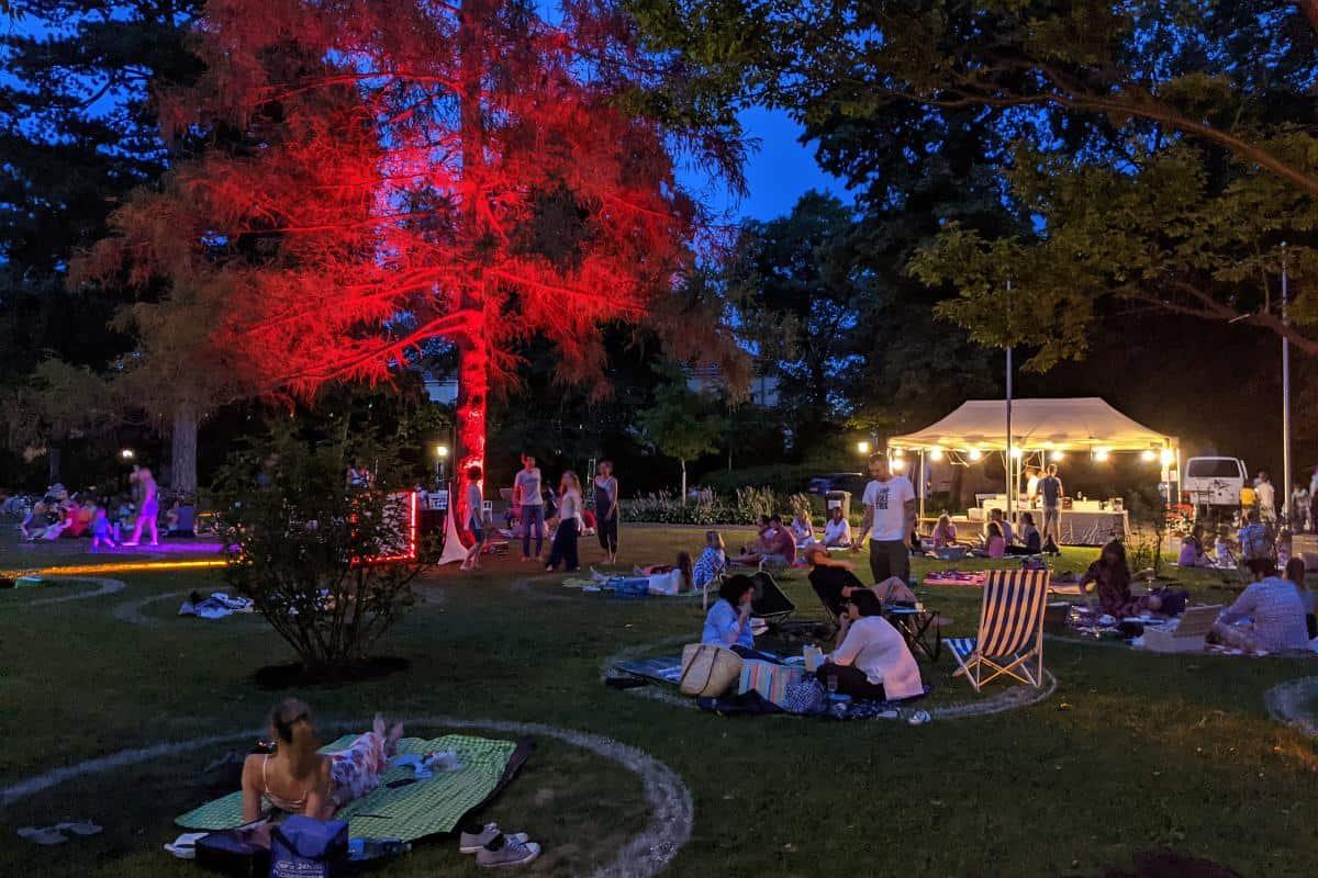 Leute beim Mondscheinpicknick im Doblhoffpark