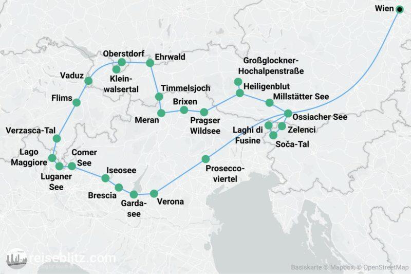 Reiseziele in den Alpen - Routenkarte Alpenroadtrip