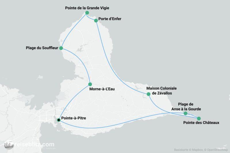 Inselrundfahrt Guadeloupe Routenkarte