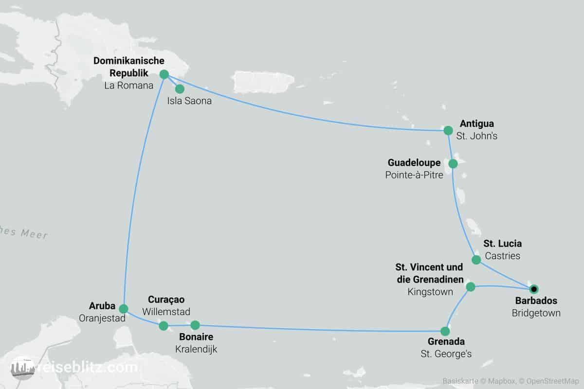 Zwei Wochen Karibikkreuzfahrt Routenkarte
