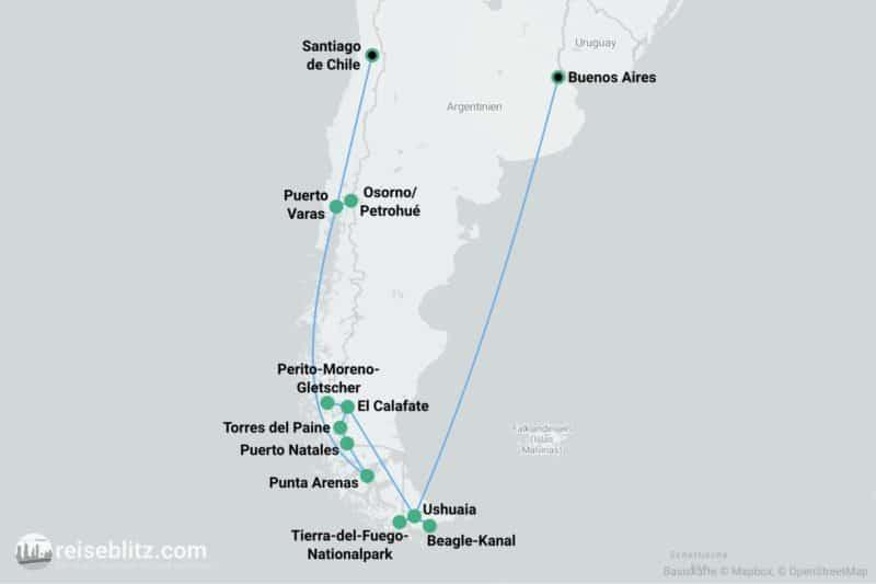 Patagonien-Rundreise Routenkarte