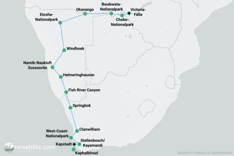 Roadtrip Südliches Afrika Routenkarte