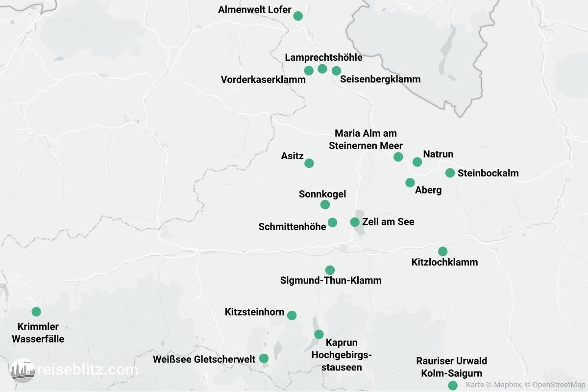 Landkarte mit Ausflugszielen im Pinzgau