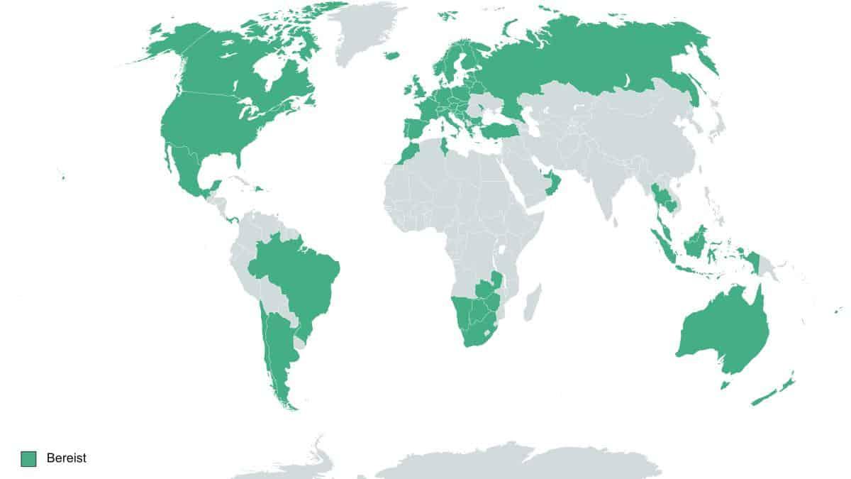 Weltkarte mit besuchten Ländern